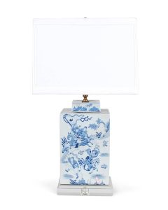 Blue and White Porcelain Square Tea Caddy Table Lamp With Warrior Design