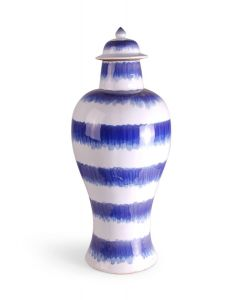 Blue and White Porcelain Tall Temple Jar With Splashed Stripe Design