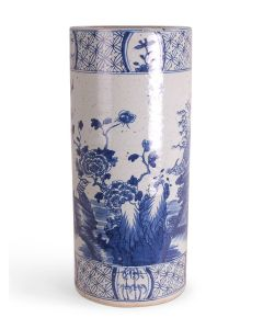 Blue and White Birds and Flowers Porcelain Umbrella Stand