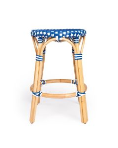 Blue and White Rattan Frame Counter Stool with Plastic Woven Seat