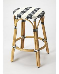 Blue and White Striped Rattan Frame Counter Stool with Plastic Woven Seat - ON BACKORDER UNTIL MID JUNE 2021