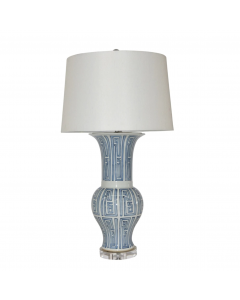 Blue And White Siam Symbol Ballaster Vase Table Lamp