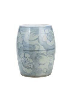 Blue and White Silla Porcelain Garden Stool Twisted Flower