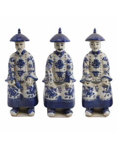 Blue and White Sitting Qing Emperors, Set of Three