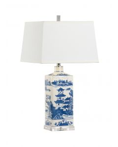 Blue and White Square Ceramic Lamp With Chinoiserie Landscape Design - ON BACKORDER UNTIL AUGUST 2020
