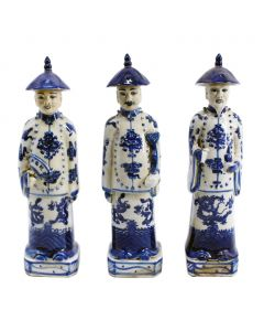 Blue and White Standing Qing Emperors, Set of Three
