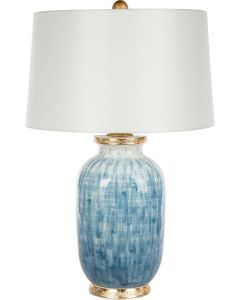 Bradburn Home Veranda Blue Lamp with Gold Embossed Base - ON BACKORDER UNTIL MID-MARCH