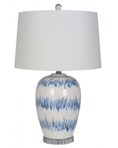 Blue and White Striped Ceramic Table Lamp with White Linen Shade and Crystal Base