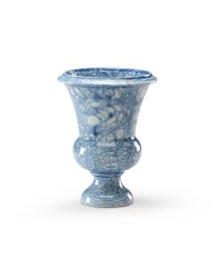 Blue and White Swirl Glaze Porcelain Footed Vase