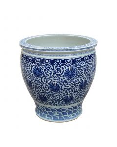 Large Blue & White Twisted Lotus Bowl Shape Planter