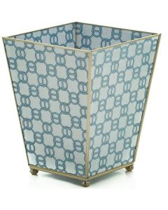 Blue Chain Wastebasket With Optional Tissue Box
