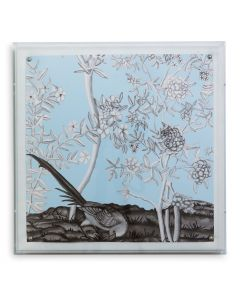 Blue Chinoiserie I Bird and Flowers Wall Art in a Lucite Shadow Box
