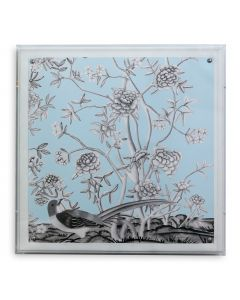 Blue Chinoiserie II Bird and Flowers Wall Art in a Lucite Shadow Box