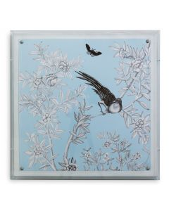 Blue Chinoiserie III Bird and Flowers Wall Art in a Lucite Shadow Box