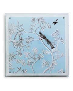 Port 68 Blue Chinoiserie IV Bird and Flowers Wall Art in a Lucite Shadow Box