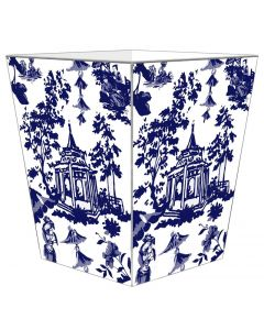 Blue Chinoiserie Pagoda Decoupage Wastebasket with Optional Tissue Box