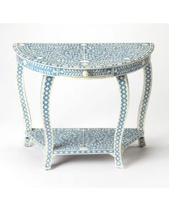 Blue Console Table with White Bone Inlay and One Drawer with Floral Pull