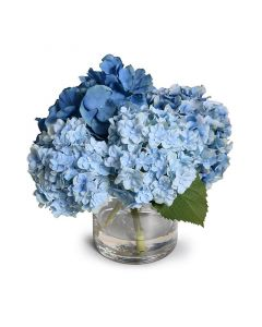Blue Faux Hydrangea Arrangement in Glass Cylinder