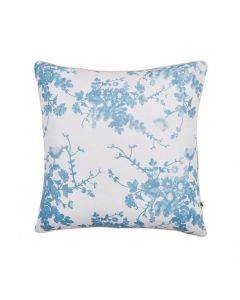 Blue Floral on White Decorative Square Linen Pillow with Cream Cord