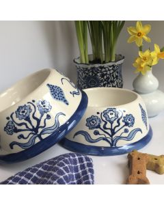Hand Painted Blue Flower Dog Bowl - Can be Personalized
