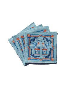 Blue Foo Dog Handmade Linen Cocktail Napkins
