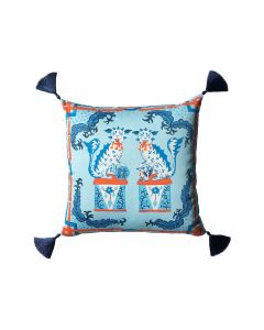 Blue and Orange  Foo Dog Throw Pillow With Silk Tassels