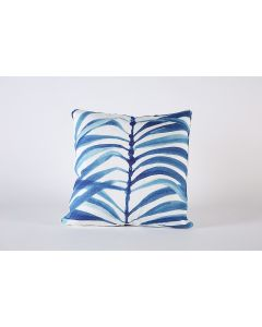 Blue Fronds Leaf Decorative Pillow on Bone Cotton Fabric