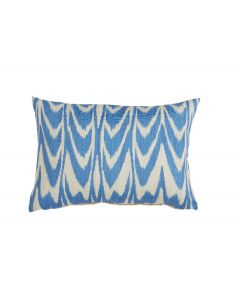 Lacefield Designs Blue Ikat Scallop Indigo Lumbar Pillow