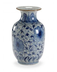 Blue On White Crackle Glaze Hand Painted Floral Vase