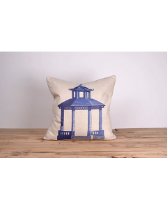 Blue Pagoda Linen Pillow