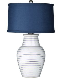 Blue Pinstripe Beach House Ceramic Table Lamp with Navy Linen Shade