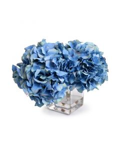 Blue Silk Hydrangea Blossoms in Glass Cube Vase