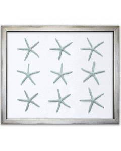 Blue Starfish on Silk Framed Artwork - Available in a Variety of Silk Colors