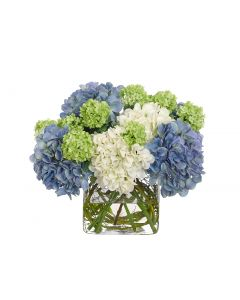 Blue, White, and Green Hydrangea Arrangement in Glass Cube