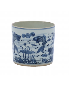 Blue and White Fish Orchid Ceramic Pot