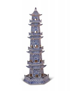 Blue & White Porcelain 5 Tier Decorative Pagoda Statue