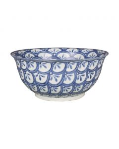 Blue & White Porcelain Decorative Bowl With Sea Wave Motif