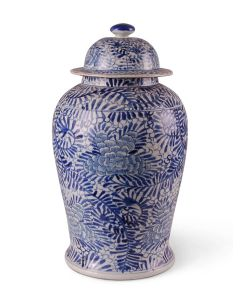 Blue & White Porcelain Floral Palm Ginger Jar