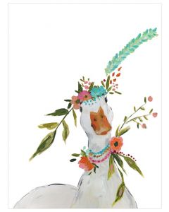 Free Spirit Duck With Floral Crown Canvas Wall Art for Kids
