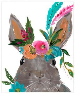 Free Spirit Rabbit With Floral Crown Canvas Wall Art for Kids