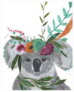 Free Spirit Koala With Floral Crown Canvas Wall Art for Kids