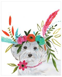 Free Spirit Maltipoo With Floral Crown Canvas Wall Art for Kids