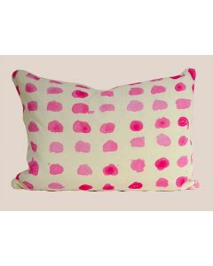 Bone Linen Lumbar Pillow with Pink Polka Dot Original Artwork Design