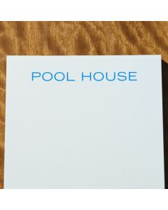 Bone White Note Pad with Blue 'Pool House' Text - IN STOCK IN OUR GREENWICH STORE FOR QUICK SHIPPING