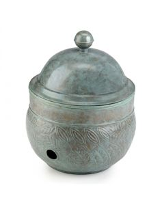 Botanical Garden Hose Pot in Blue Verde Brass With Drainage Holes and Lid