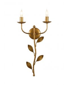 Botanical Leaf Sconce in Antique Gold Iron - OUT OF STOCK