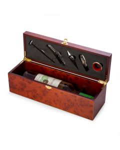 Bottle Holder with 5 Piece Bar Set in Rosewood Finished Box