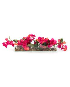 Bougainvillea and River Rocks in Glass Vase with Faux Water