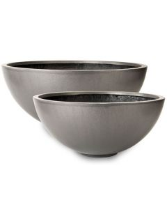 Modern Bowl Garden Planter in Faux Lead - Available in Four Sizes