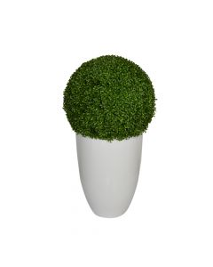 Faux Boxwood Ball in Glossy White Planter